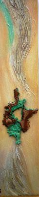 (*) Kupfer Welle II, 50x10 cm, Acryl und Kupfer, gediegen auf Leinwand