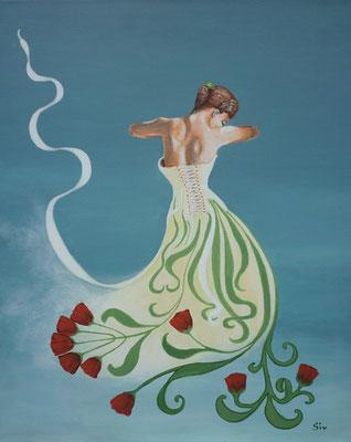(*) Idas Blütenträume, 50x40 cm, Acryl auf Leinwand im Rahmen