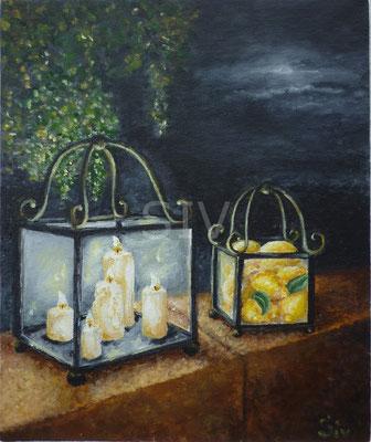 Sommernacht, 30x25 cm, Acryl auf Leinwand