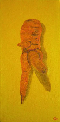 (*) Sexy Möhrchen I (Erotik im Garten) 20x10 cm, Acryl auf Leinwand