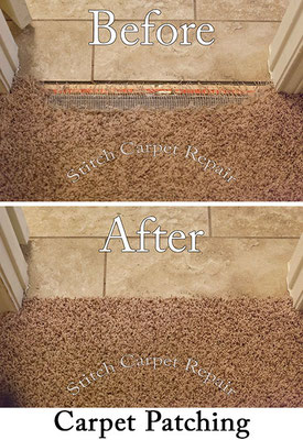Carpet patch dog pet damage repair in front of tile Austin Round Rock Cedar Park