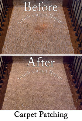 Carpet patch repair stain on the landing Austin Round Rock Cedar Park Manor Bee Cave San Marcos