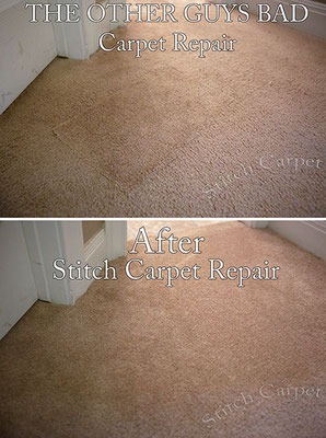 Bad carpet repair patch that was done by a carpet cleaner that I repaired the right way