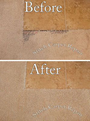 Carpet patch pet damage in front of tile Austin Round Rock Cedar Park Manor Bee Cave San Marcos