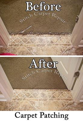 Berber Carpet repair patch in front of tile Austin Round Rock Cedar Park Manor Bee Cave San Marcos