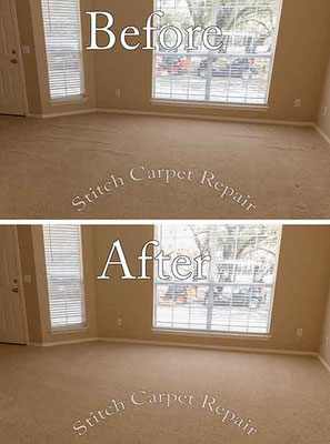 Carpet stretching in a family room Austin Round Rock Cedar Park Manor Bee Cave San Marcos
