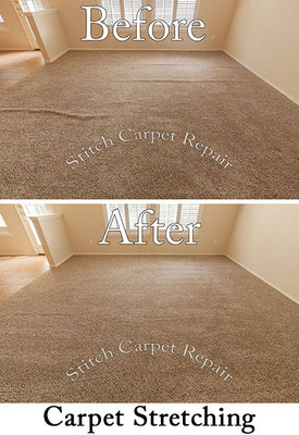 Carpet stretching a family room Austin Round Rock Cedar Park Manor Bee Cave San Marcos