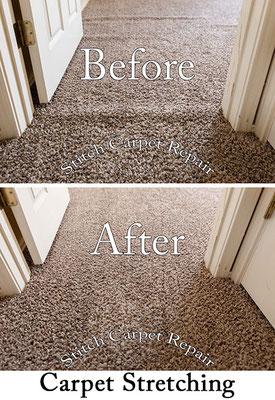 Carpet stretch between a hallway and bedroom Austin Round Rock Cedar Park