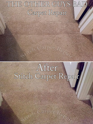 Bad carpet patch that was done by another carpet repair company that I repaired the right way