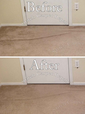 Carpet stretching in the bedroom in front of the closet Austin Round Rock Cedar Park Manor Bee Cave San Marcos