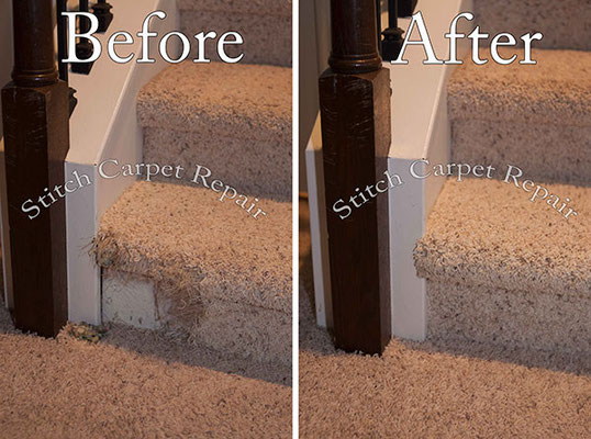 Carpet patch repair on the bottom staircase Austin Round Rock Cedar Park Manor Bee Cave San Marcos