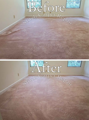 Carpet stretching in a pink carpeted room Austin Round Rock Cedar Park Manor Bee Cave San Marcos