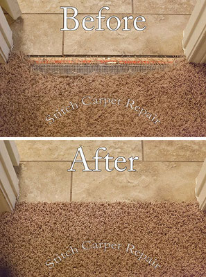Carpet patch dog pet damage repair in front of tile Austin Round Rock Cedar Park Manor Bee Cave San Marcos