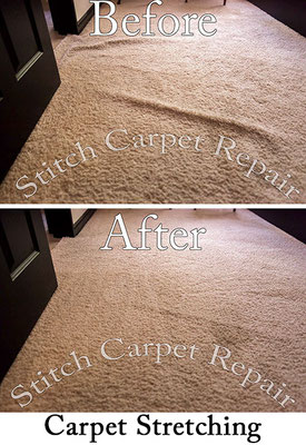 Carpet stretching in the bedroom in front of the door Austin Round Rock Cedar Park