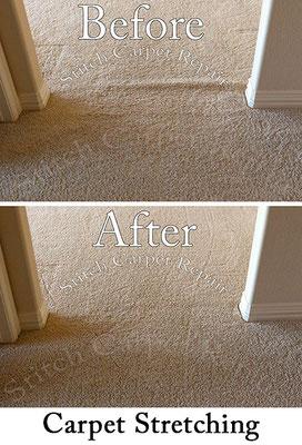 Carpet stretch between a hallway and game room Austin Round Rock Cedar Park