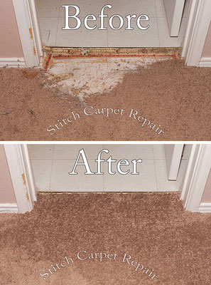 Carpet patch pet damage in front of bathroom Austin Round Rock Cedar Park Manor Bee Cave San Marcos