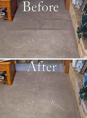 Carpet stretching a living room in front of the fireplace Austin Round Rock Cedar Park Manor Bee Cave San Marcos