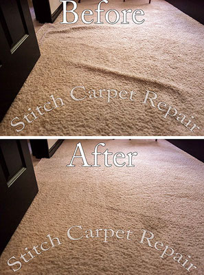Carpet stretching in the bedroom in front of the door Austin Round Rock Cedar Park Manor Bee Cave San Marcos