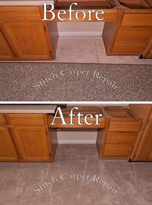 Stretched the carpet up to the cabinets Austin Round Rock Cedar Park Manor Bee Cave San Marcos