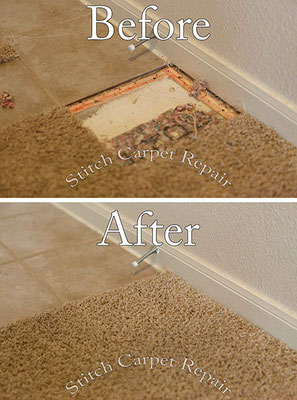 Carpet patch pet damage in front kitchen Austin Round Rock Cedar Park Manor Bee Cave San Marcos