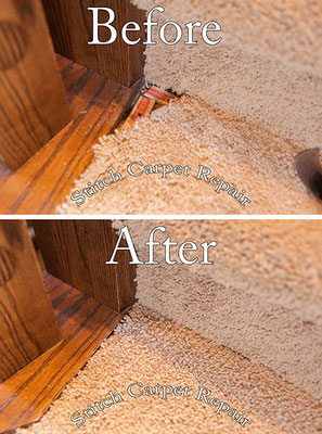 Carpet patch pet damage in the corner of a step Austin Round Rock Cedar Park Manor Bee Cave San Marcos
