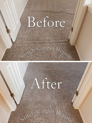 Carpet stretch in a hallway and bedroom Austin Round Rock Cedar Park Manor Bee Cave San Marcos