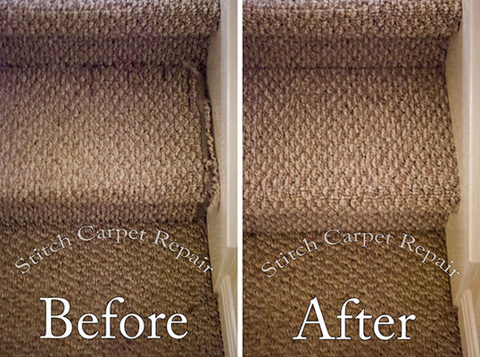 Berber carpet repair on a step Austin Round Rock Cedar Park Manor Bee Cave San Marcos