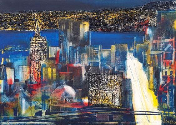 City by night 50 x 70 Leinwand/canevas - Mischtechnik mit Sand/sable CHF 700