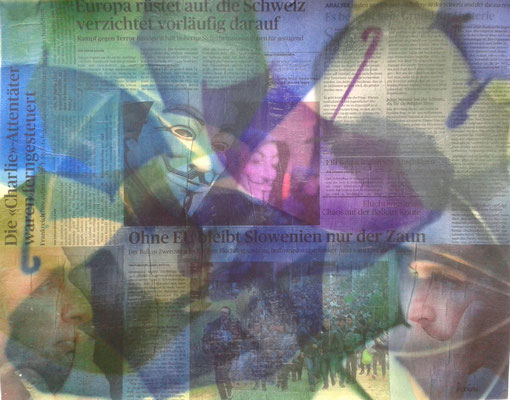 Airbrush mit Schablone und Collage