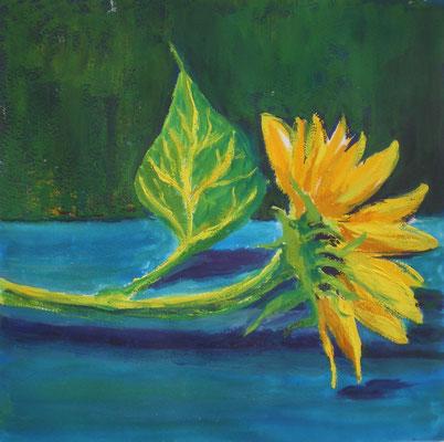 Sonnenblume mit Gouache à la Van Gogh