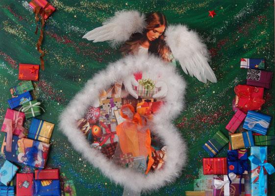 Weihnachten/Noël 2015, 50 x 70, Leinwand/canevas, Mischtechnik mit Collage, CHF 300.00