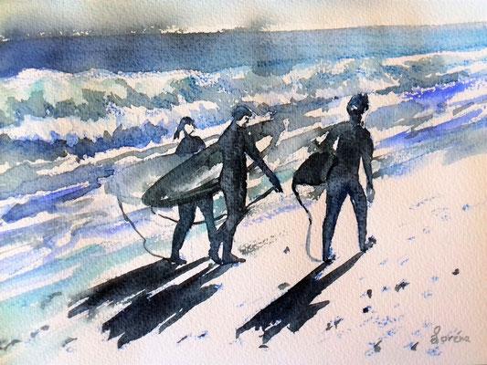 Surfeurs 1 /24 x 32 eingerahmt mit Passepartout - verglast 30 x 40 CHF 200