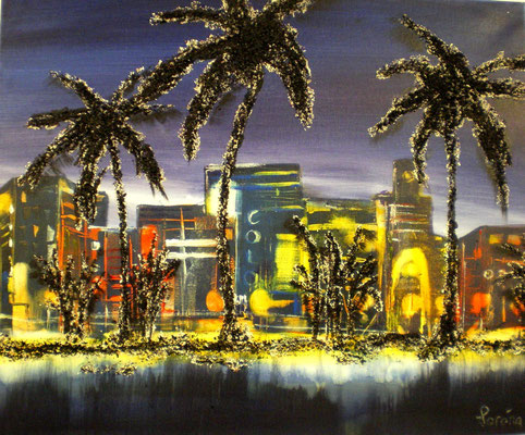 Miami Beach 50 x 60 Leinwand/canevas - Mischtechnik mit Sand/sable CHF 500
