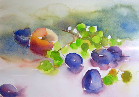 Pêche et prunes, 50 x 65, eingerahmt, verglast, CHF 470.00