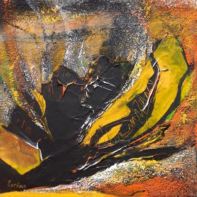 Racines 40 x 40 Leinwand/canevas - Mischtechnik mit Collage/Sand CHF 300