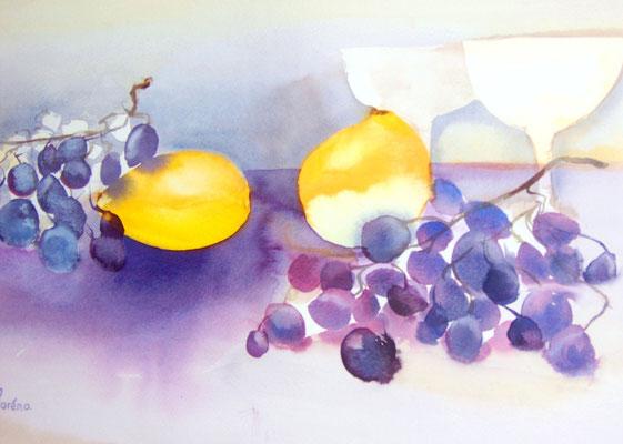 Citrons et raisins 35 x 50 eingerahmt mit Passepartout - verglast 50 x 60 CHF 350