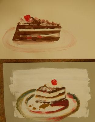 Gouachekuchen nach Model - in 1 Minuten gemalt