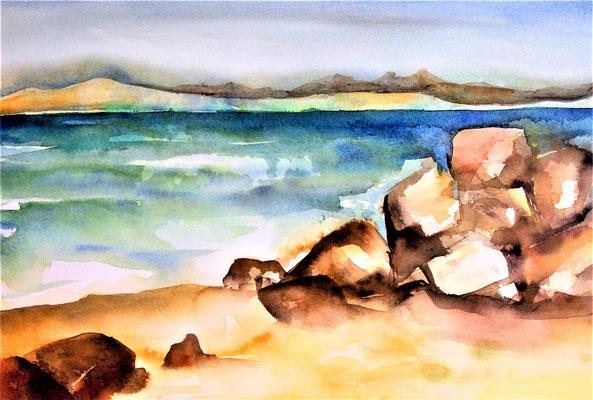 Rochers sur la plage 35 x 50 eingerahmt mit Passepartout - verglast 50 x 65 CHF 350