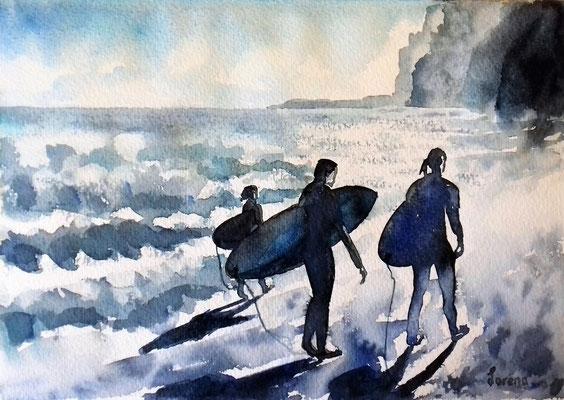Surfeurs 2 /24 x 32 eingerahmt mit Passepartout - verglast 30 x 40 CHF 200