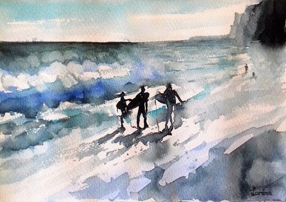 Surfeurs 3 /24 x 32 eingerahmt mit Passepartout - verglast 30 x 40 CHF 200