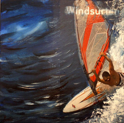 Windsurf, 20 x 20, Leinwand/canevas, collage, CHF 200.00