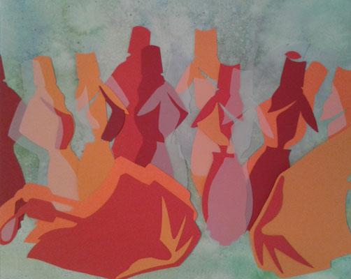 Collage auf Aquarell-Hintergrund