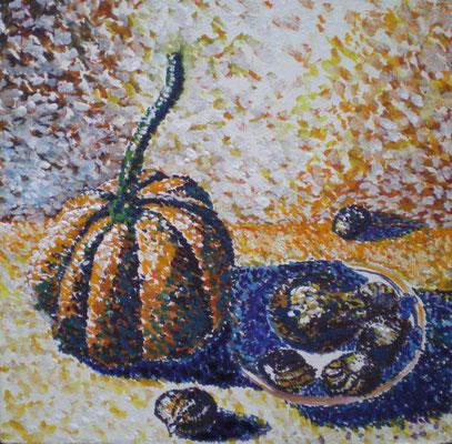 Stillleben mit Gouache pointillistische Art
