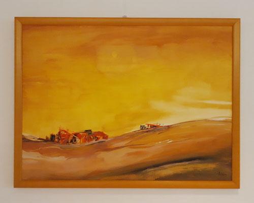 Cabanes rouges 50 x 70 Papier - oranger Rahmen/cadre orange en bois CHF 650