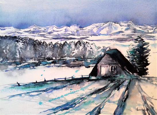 Cabane en hivers 40 x 50 - eingerahmt mit Passepartout - verglast  CHF 350