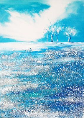 Reflets gelés 50 x 70 Leinwand/canevas - Mischtechnik mit Sand/sable CHF 600