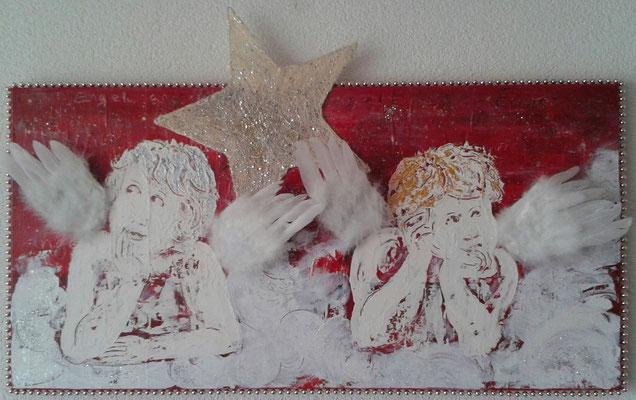 Weihnachten/Noël 2016, 40 x 80, Leinwand/canevas, Mischtechnik mit Collage, CHF 300.00