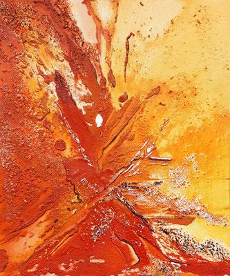 Eruption 50 x 60 Leinwand/canevas - Mischtechnik mit Sand CHF 500