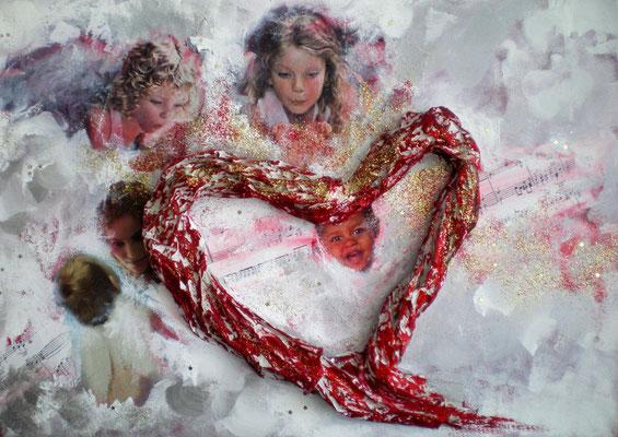 Weihnachten/Noël 2013, 50 x 70, Leinwand/canevas, Mischtechnik mit Collage, CHF 190.00