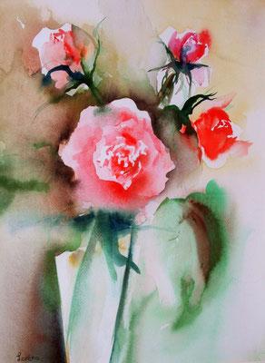 Roses 35 x 50 eingerahmt mit Passepartout - verglast 50 x 60 /CHF 350